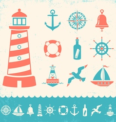 Marine icons color vector image