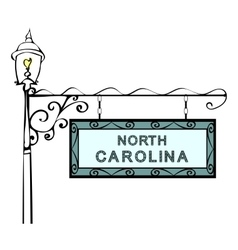 North Carolina retro pointer lamppost vector image vector image