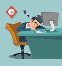 sleeping businessman tired business man at work vector image vector image