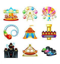 attraction icons vector image vector image