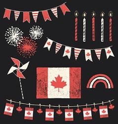 Canada Day Patriotic Chalk Flag Party Set vector image vector image