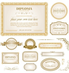 Diploma template with additional design elements vector image vector image