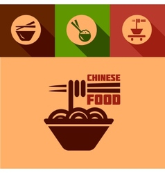 flat chinese food icons vector image vector image
