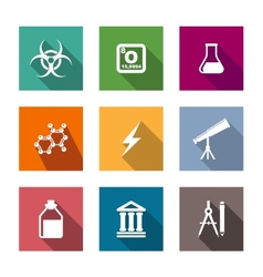 Flat science and education icons set vector image