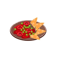 Salsa With Nachos On Plate vector image