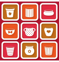 Set of 9 different icons with flower pots vector