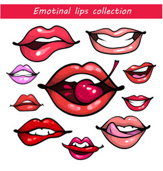 woman fashion lip gestures set girl mouths close vector image