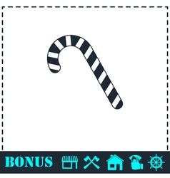 Christmas peppermint candy cane icon flat vector image