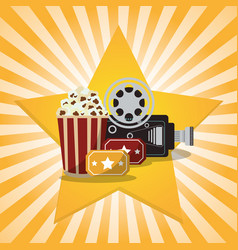 cinema pop corn tickets camera star background vector image