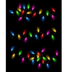 Color lights on black background vector image