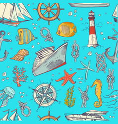 colored sketched sea elements pattern or vector image vector image