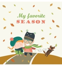 Couple with dog walking in autumn park vector image vector image