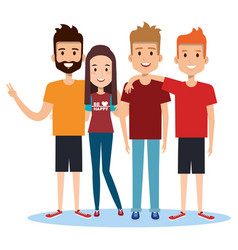 Group of happy people friends together in casual vector