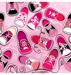 Seamless pattern - children gumshoes on pink backg vector image