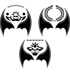 set of dragon wings vector image