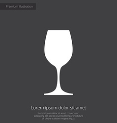 wineglass premium icon white on dark background vector image vector image
