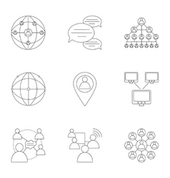World internet icons set outline style vector image
