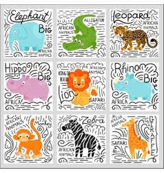 African animals set background vector image