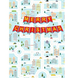Merry Christmas Greeting card winter city on eve vector image vector image