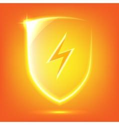 Orange glass shield vector image vector image