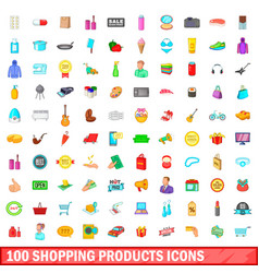 100 shopping products icons set cartoon style vector image