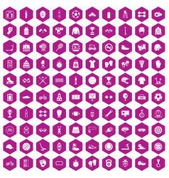 100 sport accessories icons hexagon violet vector