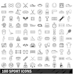 100 sport icons set outline style vector