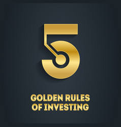 5 golden rules investing cover for video vector
