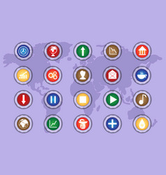 a set of icons on colored buttons part two vector image