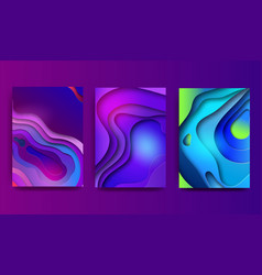 a4 abstract color 3d paper art set contrast vector image