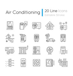 Air conditioning linear icons set vector