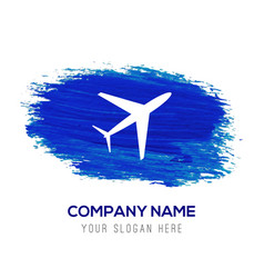Airplane icon - blue watercolor background vector