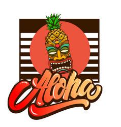 Aloha emblem template with tiki idol design vector