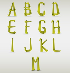 Alphabet folded green paper template vector image