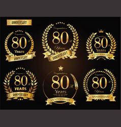 anniversary golden laurel wreath 80 years vector image