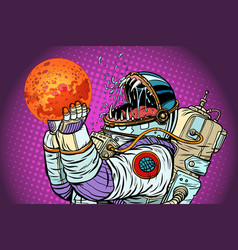 astronaut monster eats mars greed and hunger of vector image