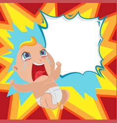 baby anger cartoon template background vector image