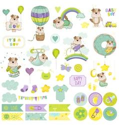 Baby boy dog scrapbook set tags labels vector