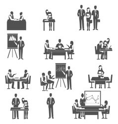 Business coaching black icons set vector image