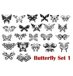 Butterfly silhouette icons vector