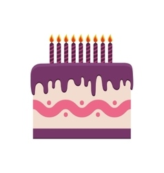 cake candle party cream bakery birthday icon vector image