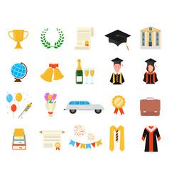 cartoon color graduation day signs icon set vector image
