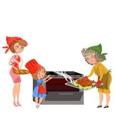 Cartoon happy grandmother putting chicken in oven vector