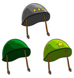 Cartoon old retro soviet soldier helmets vector
