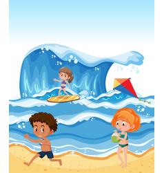 Children at the summer beach vector