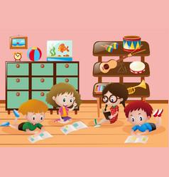 Children reading books in room vector