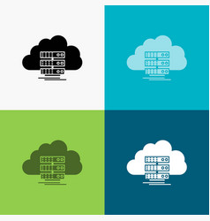 Cloud storage computing data flow icon over vector