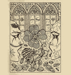 Clover mystic concept for lenormand oracle tarot vector