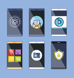 Collection mobile web applications and services vector