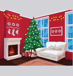 Colorful christmas room interior with red walls vector